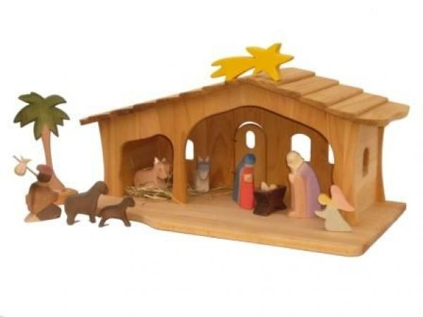 Kinder Weihnachtskrippe.Weihnachts Krippe Mit Schindeln Natur Holz Krippenstall