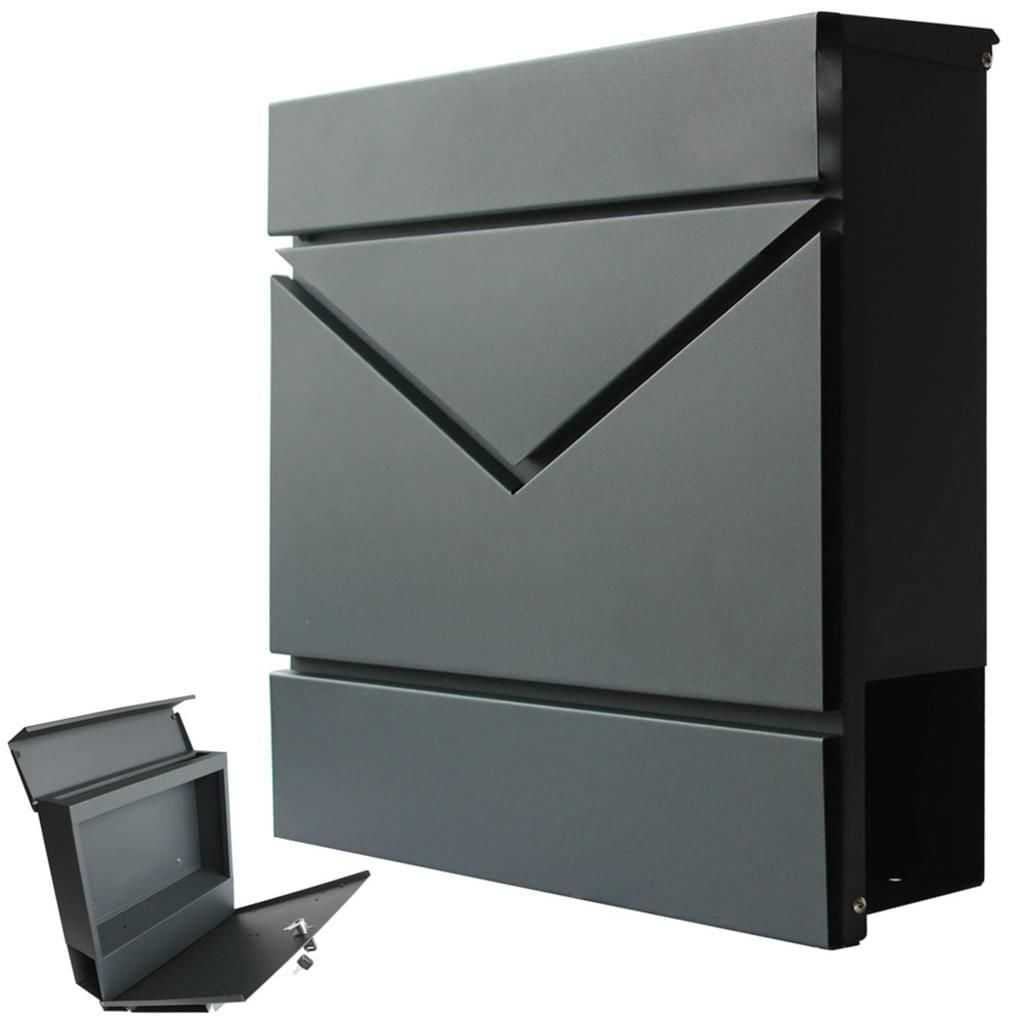 Modern Briefkasten Wandbriefkasten Postkasten Zeitungsrolle Zeitungsfach Anthrazit Briefkasten Briefkasten Modern Design Briefkasten