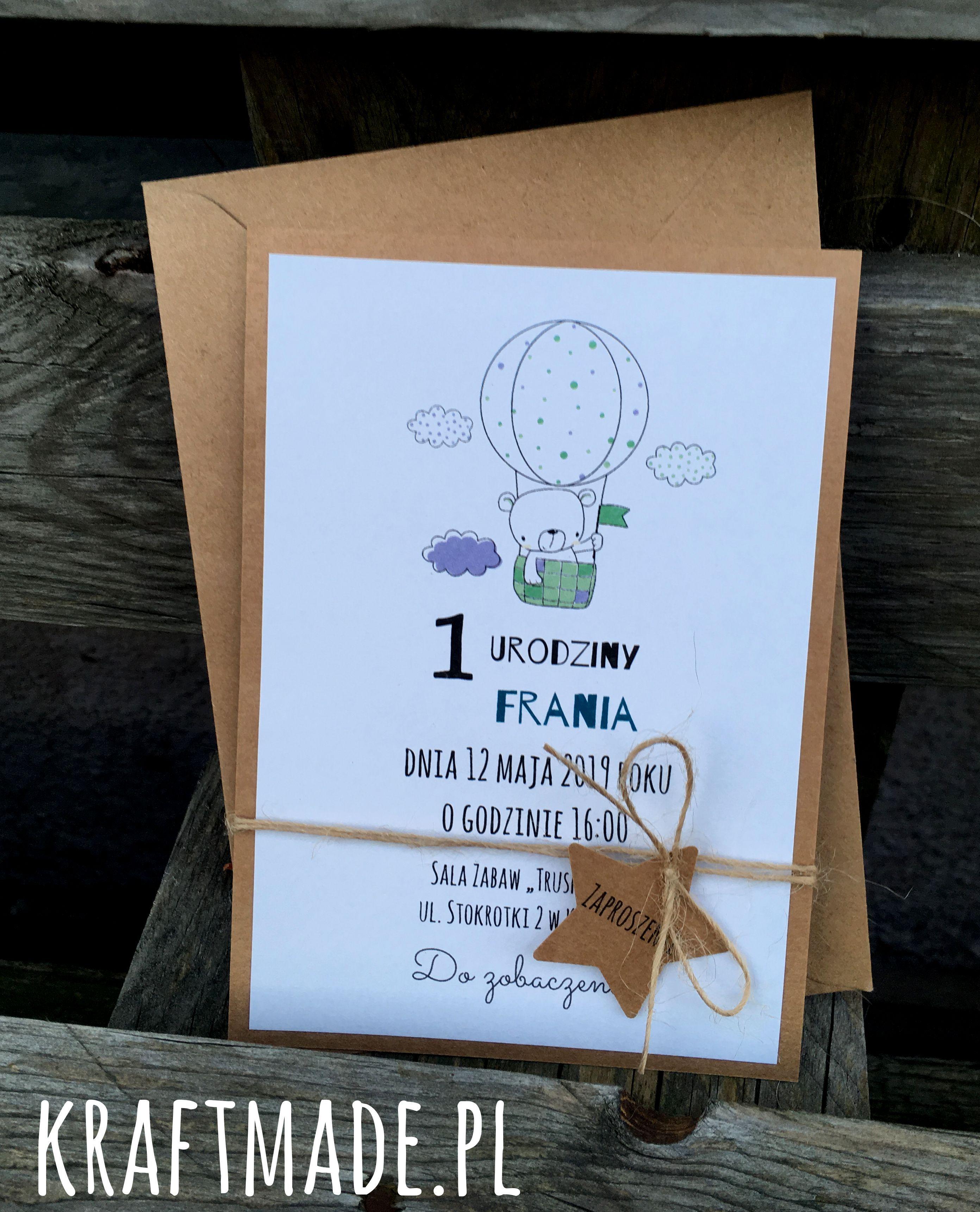 Zaproszenia Na Urodziny Roczek Eko Mis With Images Zaproszenia