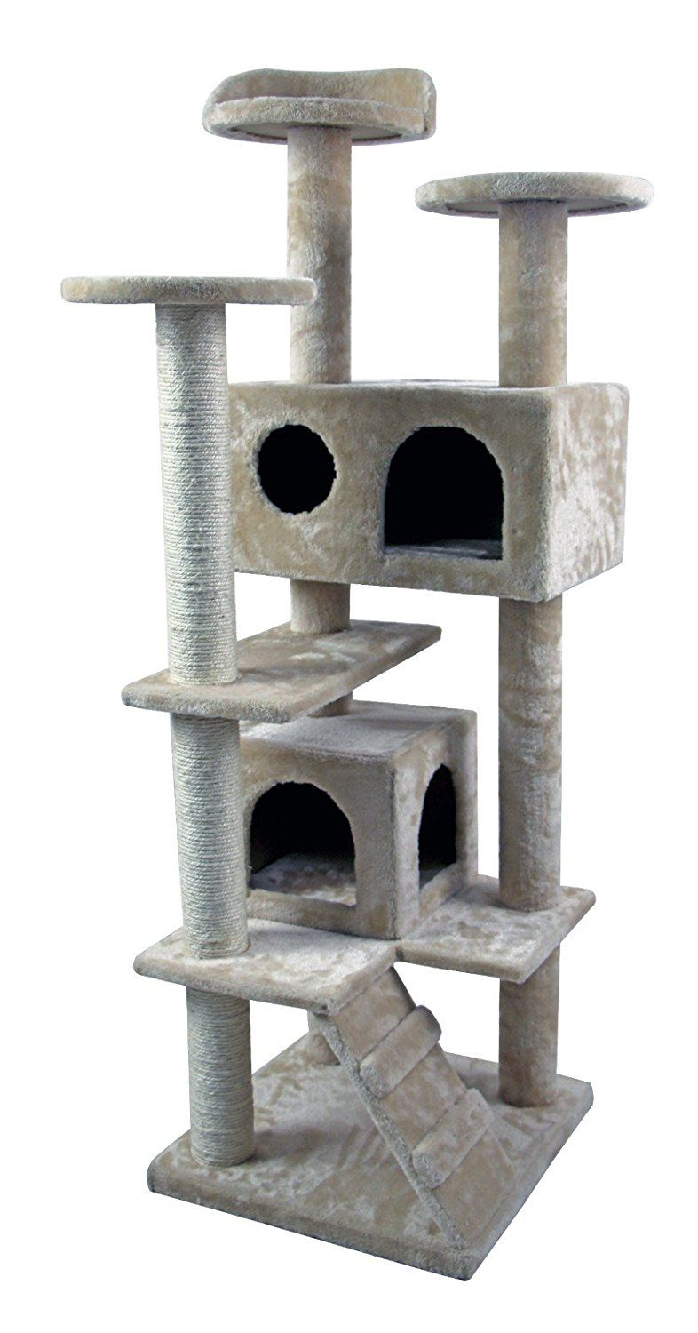 50u0027 Cat Tree Tower Condo Furniture Scratch Post Kitty Pet House Play  Furniture Sisal Pole And Stairs (Beige) ** Check Out This Great Image : Cat  House