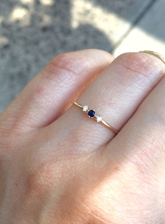 Tiny Sapphire Diamond Ring 14k Three Stone Ring Something Blue