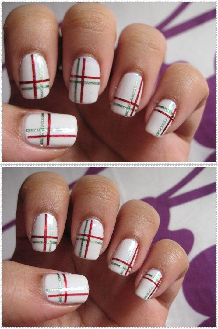 geez...: Christmas Striping | Nails and Hair | Pinterest | Tape nail ...