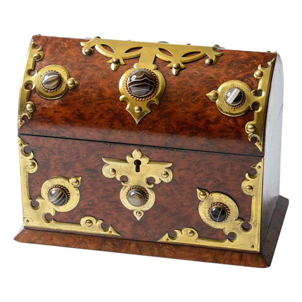 Beautiful yewood box with stone mounts and brass accents