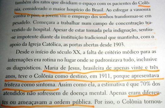 do livro Holocausto Brasileiro de Daniela Arbex.