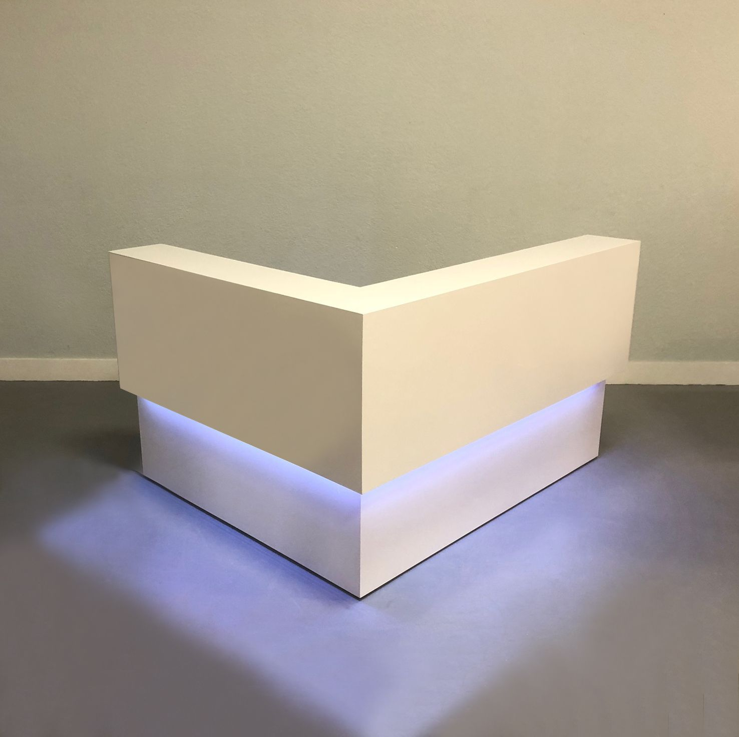 L Shape Custom Made Reception Desk In White Gloss Laminate And Color Changing Led Reception Desk Modern Reception Desk White Gloss