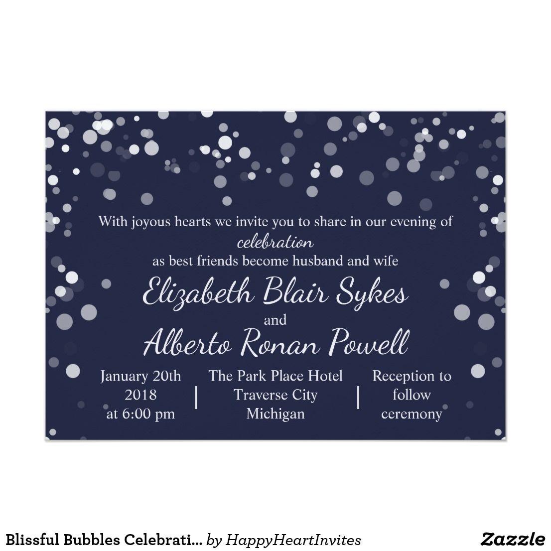 Blissful Bubbles Celebration Wedding Invitation