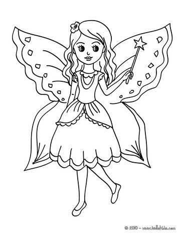 fairy wings coloring pages - fairy with butterfly