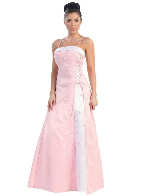 2013 - 2014 lovely cute pink and white junior plus size prom