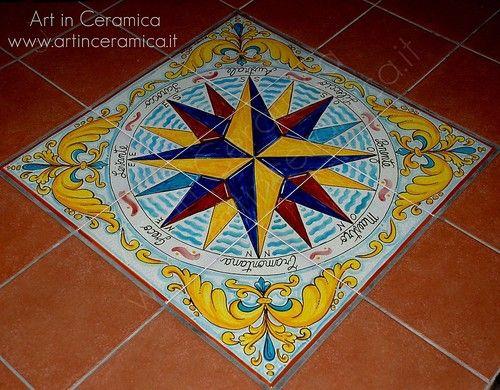 Tappeto mattonelle 60x60cm in maiolica ceramica artistica rosa dei