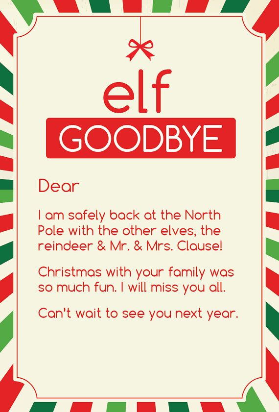 Magic Elf Goodbye Note by CleverPrintables on Etsy Elf on the