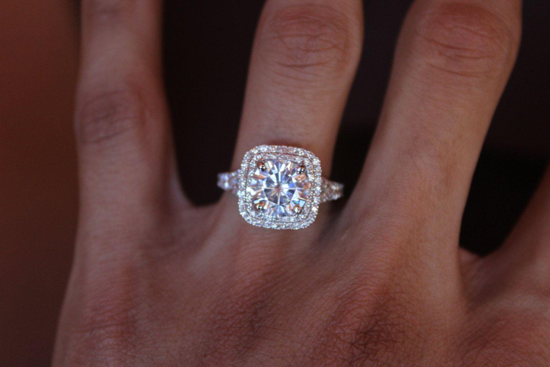 2.50 Carat 8.5mm Moissanite Engagement Ring 14k White Gold 2 Ct Rings