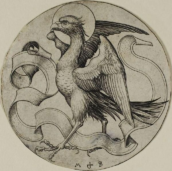 """""""The Eagle of St.Jhon"""", Oil by Martin Schongauer (1448-1491, Germany)"""