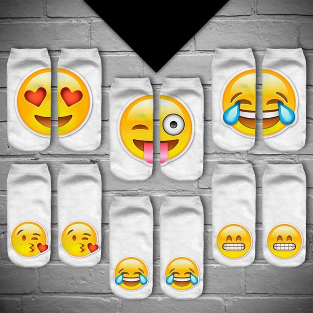 1Pair 3D Emoji Printing Expression Socks Low Ankle Short Socks Cotton Hosiery