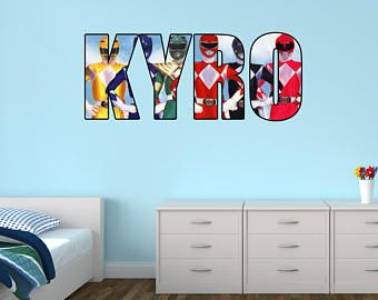 Personalised Name Original Power Rangers Wall Sticker Decal Part 27
