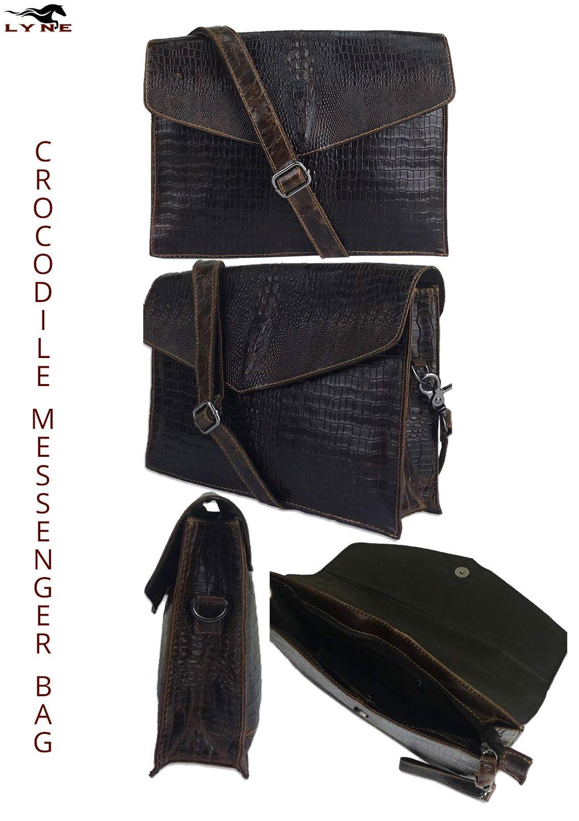 ba628d1a32 CROCODILE SHOULDER BAG SATCHEL. One of the classical and unique men s  shoulder leather bag from