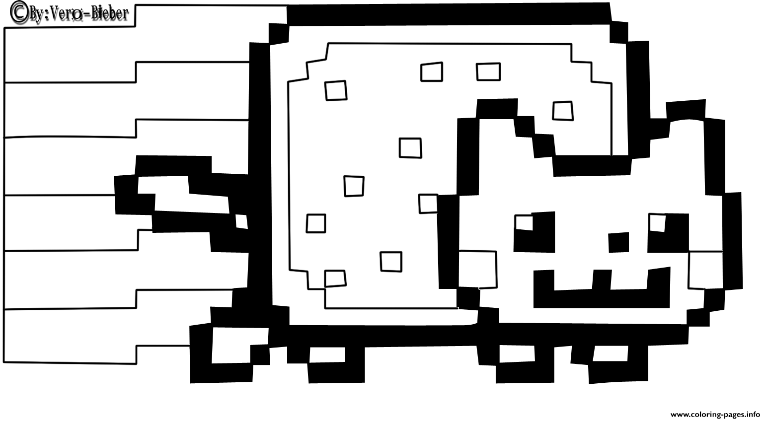 Print nyan cat by vero bieber coloring pages  Nyan cat, Cat