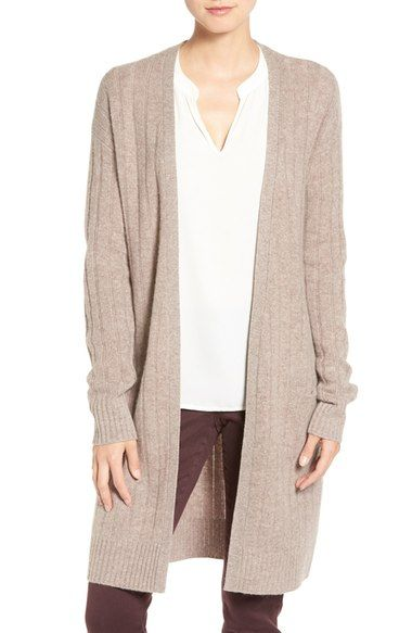 Halogen® Rib Knit Merino Wool & Cashmere Cardigan (Regular & Petite) available at #Nordstrom