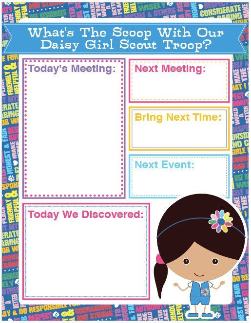 Daisy Girl Scout Agenda Meeting Handout - Printable Instant - agenda word