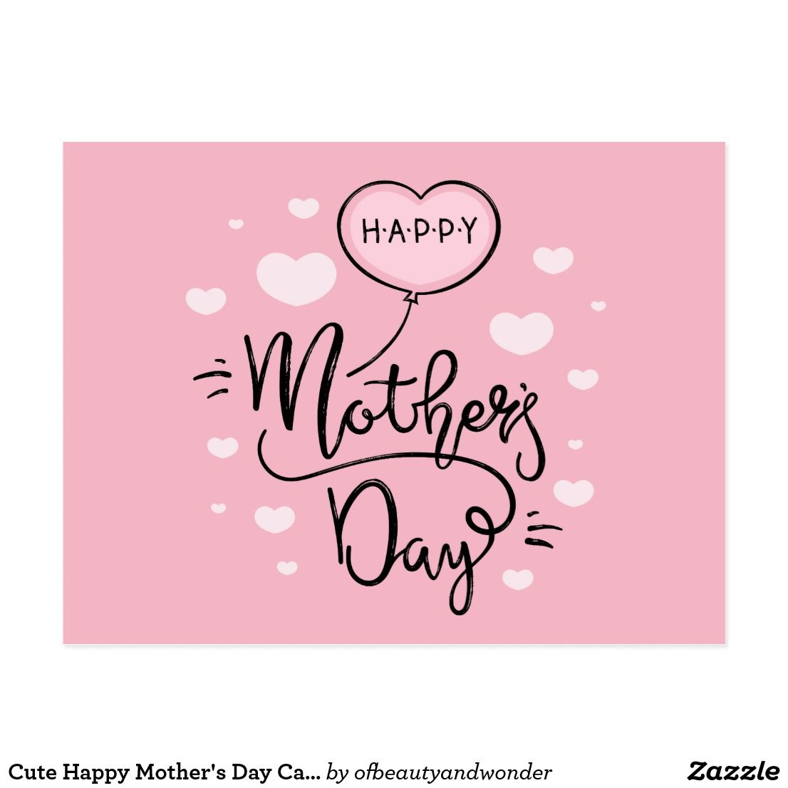 Cute Happy Mother S Day Calligraphy Postcard Zazzle Com Happy Mother S Day Calligraphy Happy Mothers Day Happy Mothers