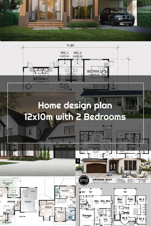 Home Design Plan 12x10m With 2 Bedrooms Home Design With Plansearch In 2020 House Design Home Design Plan Design