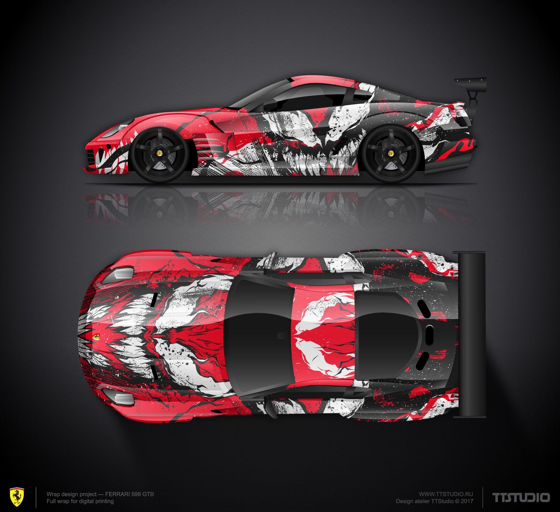 Marvel Supervillain Sarnage Wrap Design Concept 1 For Ferrari 599