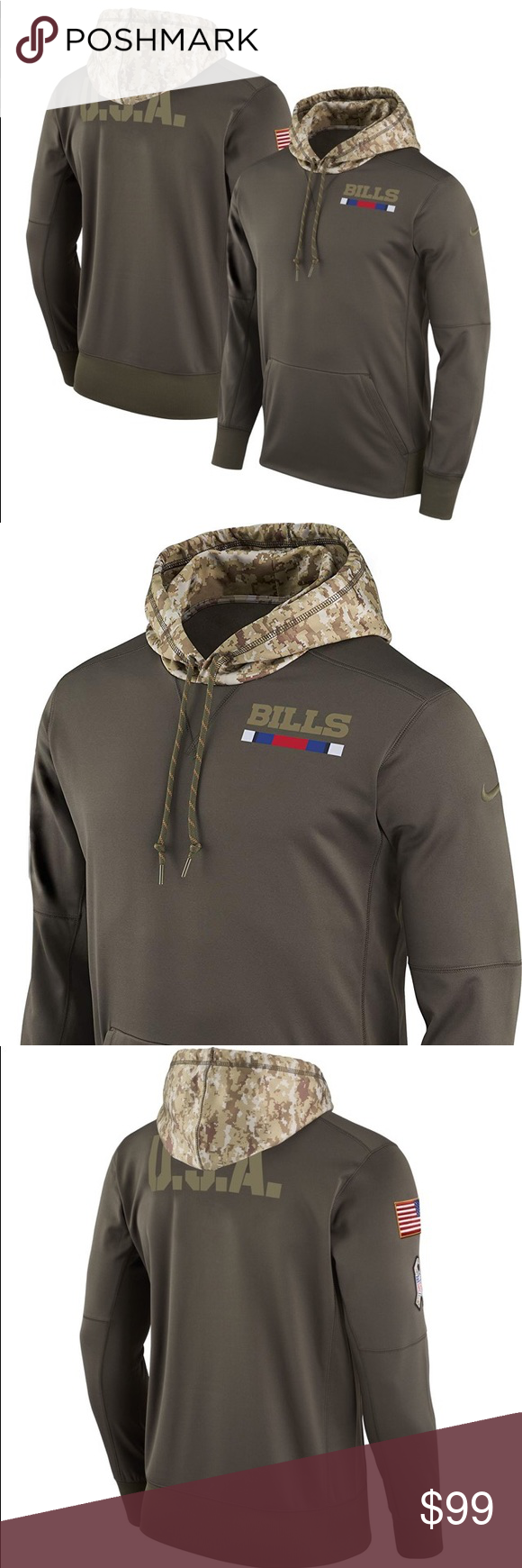 low priced cee56 f7f50 Nike Buffalo Bills Salute To Service Camo Hoodie Brand ...