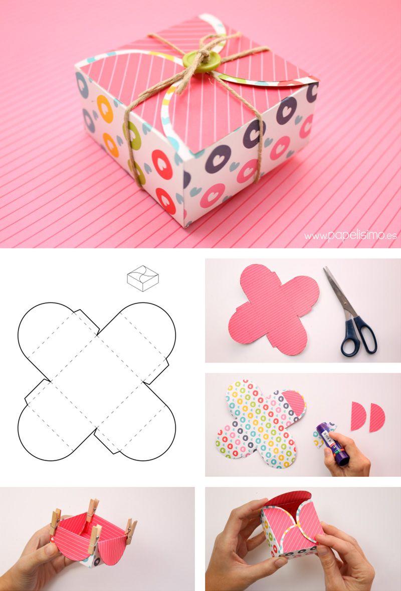 4 cajas de cartulina para regalo de scrapbooking con - Papel decorado manualidades ...
