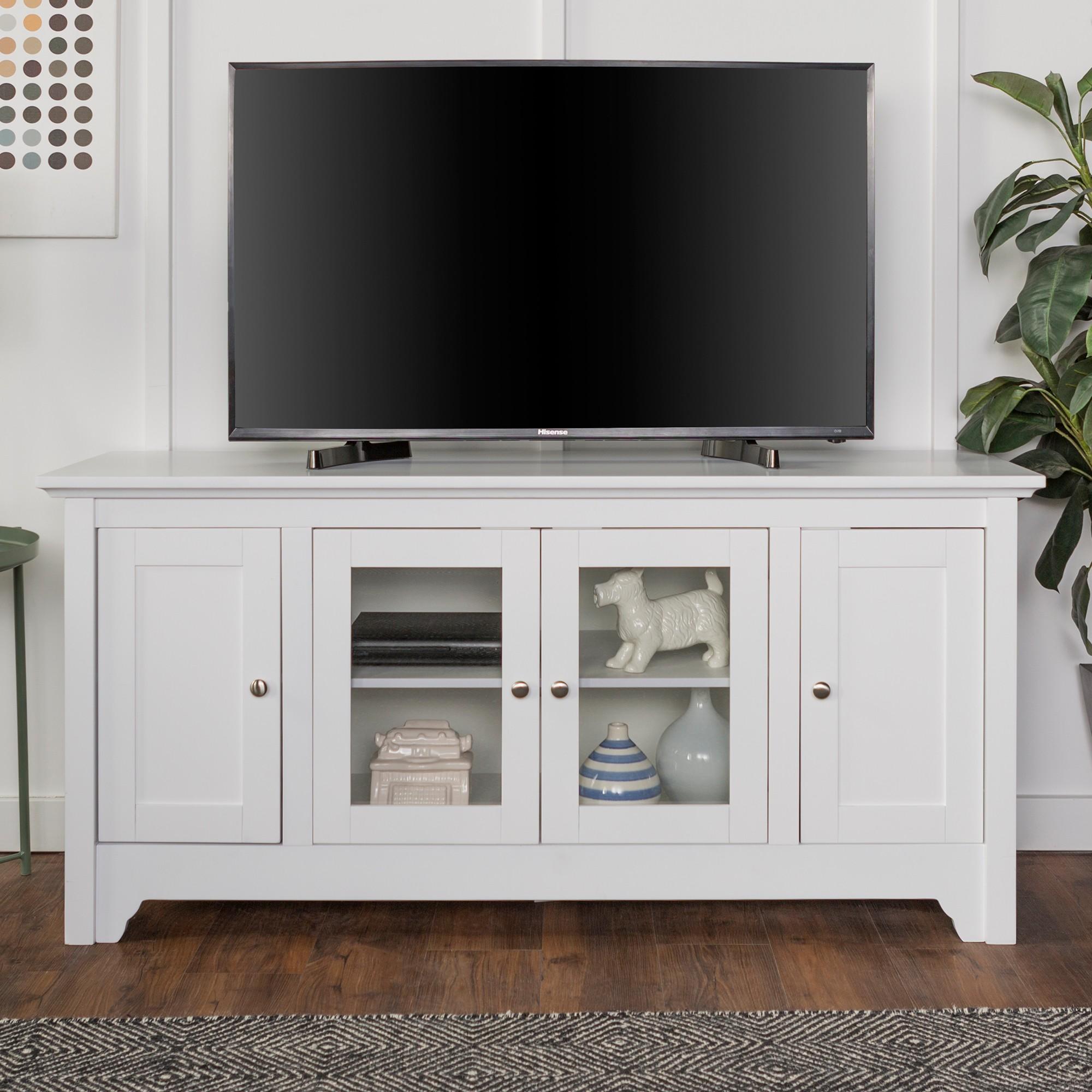 Enjoyable 52 Wood Tv Media Stand Storage Console White Saracina Evergreenethics Interior Chair Design Evergreenethicsorg