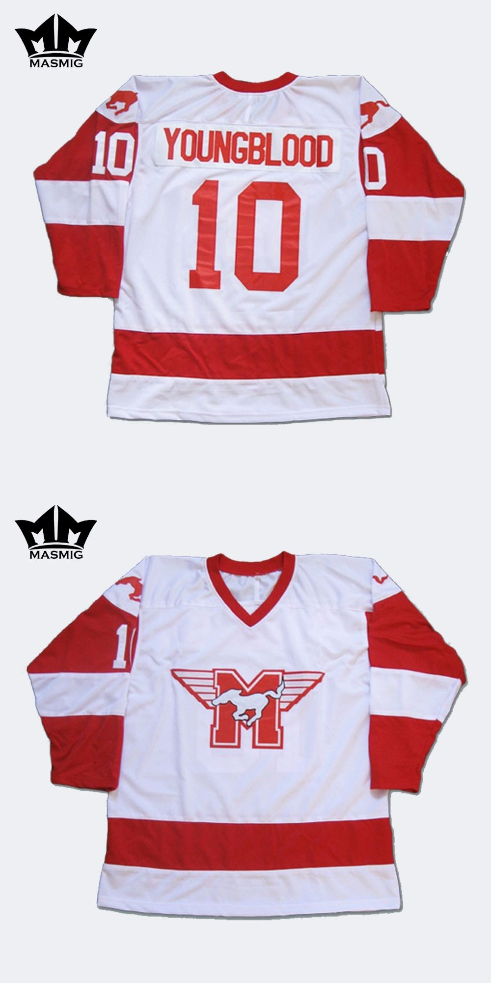 MM MASMIG Youngblood Rob Lowe 10 MUSTANGS Hockey Jersey White For Free  Shipping S M L XL XXL f0280f9308