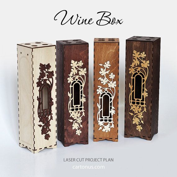 Caja de vino de madera con ventana y marco decorativo Lasercut ...