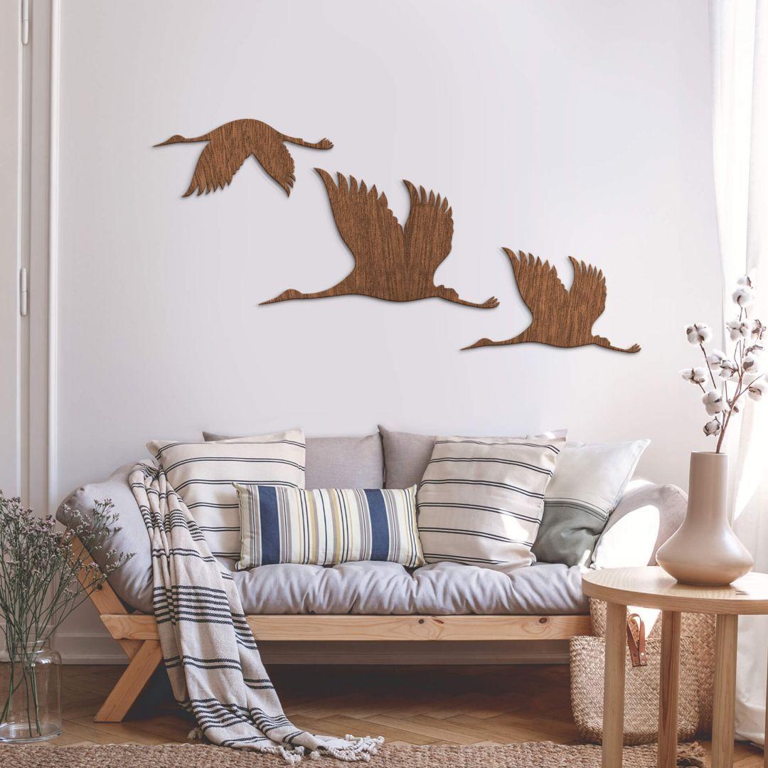 Holzkunst Mahagoni - Kraniche - Vogelschwarm 19 - Tierische
