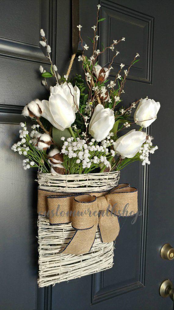 Cotton Wreath Farmhouse Wall Decor Tulip Wreath Front Door Basket