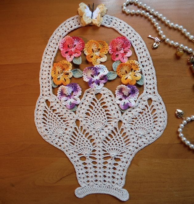 "New Handmade Crochet Doily ""Basket of Pansies with Butterfly and ..."