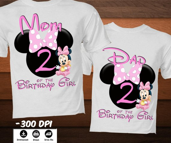 Minnie Personalised Birthday party family matching outfit girl/'s 1st birthday