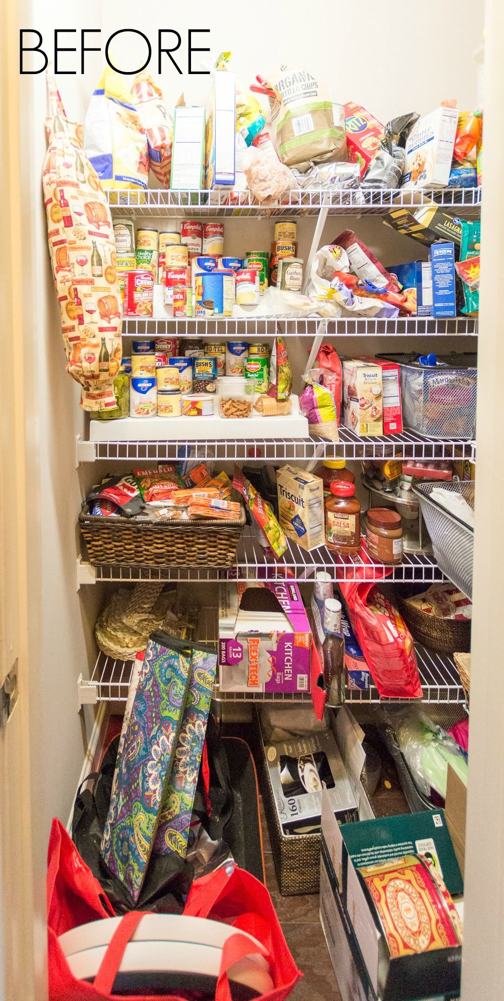 Nine Ideas To Organize A Small Pantry With Wire Shelving Kelley Nan Small Pantry Organization Pantry Organization Dollar Store Diy Pantry Organization