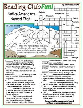 Places Native Americans Named Crossword Puzzle Native American Printable Puzzles For Kids Native American Heritage