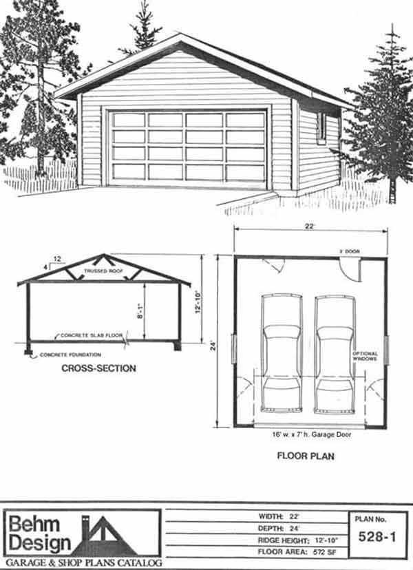 Two Car Garage With Plan 528-1 22' x 24' by Behm Design