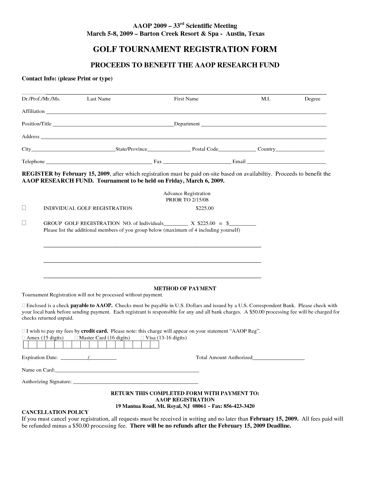 Free Registration Form Template  Golf Tournament Registration