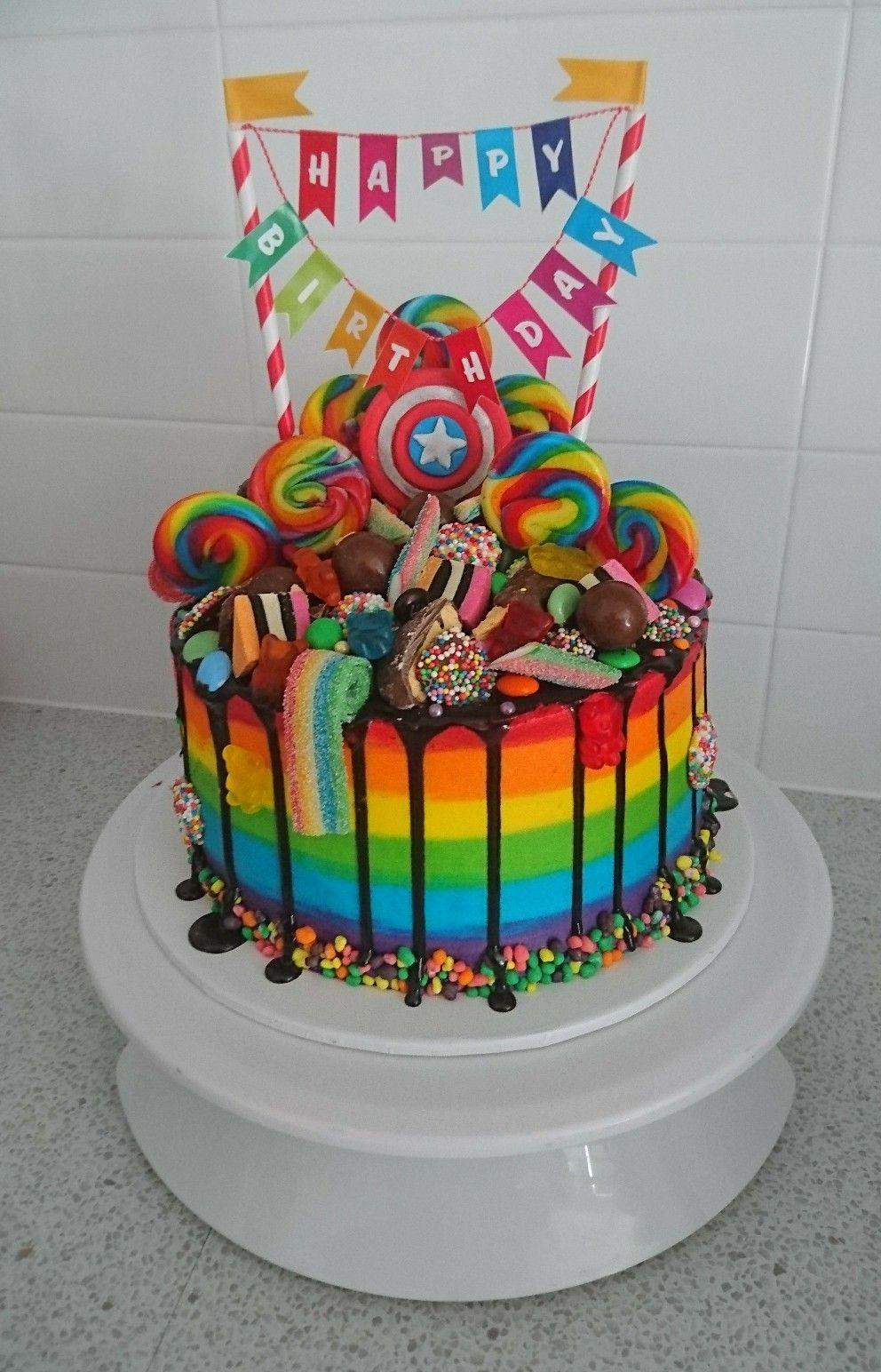 Rainbow Drip Cake Rainbow Drip Cake Cake Drip Rainbow In 2020