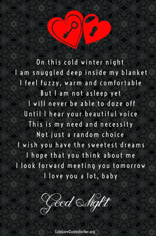 Good Night Poems For Your Boyfriend Cute Love Poems For Her Him