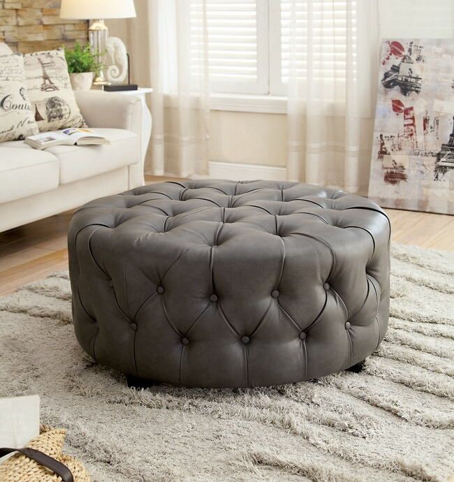 Amazing Cm Ac6289Gy Latoya Gray Bonded Leather Tufted Round Ottoman Theyellowbook Wood Chair Design Ideas Theyellowbookinfo