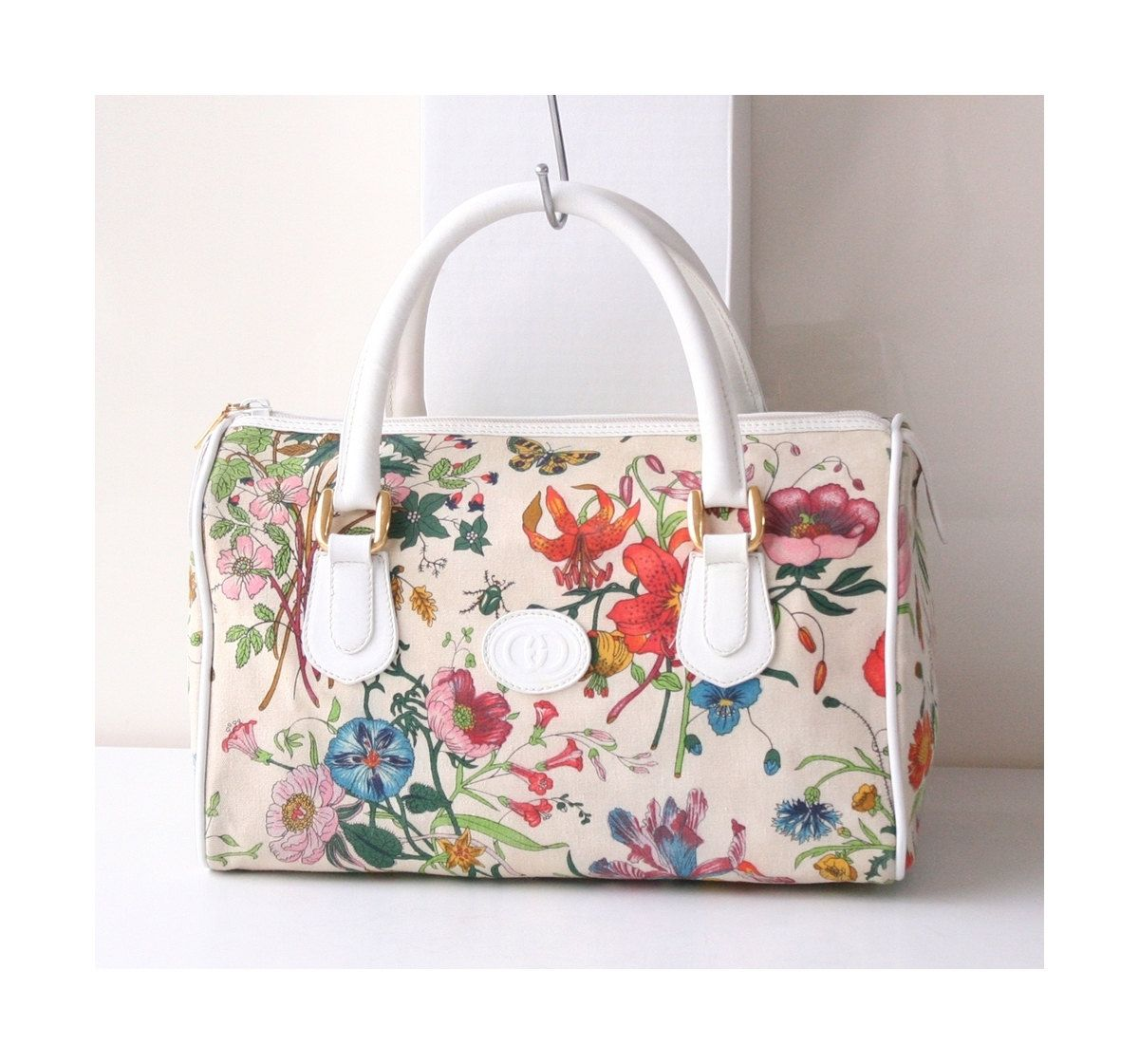 Gucci Bag Flower Canvas Boston Tote Vintage Authentic Handbag By