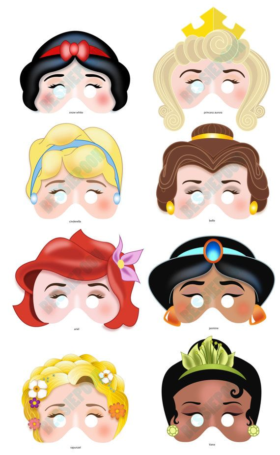 DISNEY PRINCESS PARTY Printable Mask Collection. Includes All 8 Masks.  Photo Booth Prop.  Free Printable Face Masks