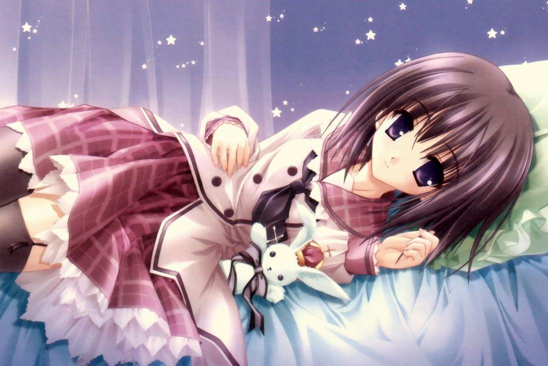 Anime Girl With Stuffed Bunny