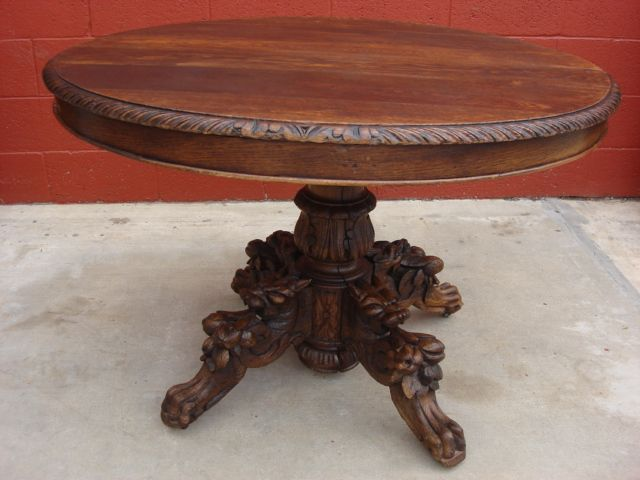 Antique Furniture French Antique Hand Carved Round Table Hunters