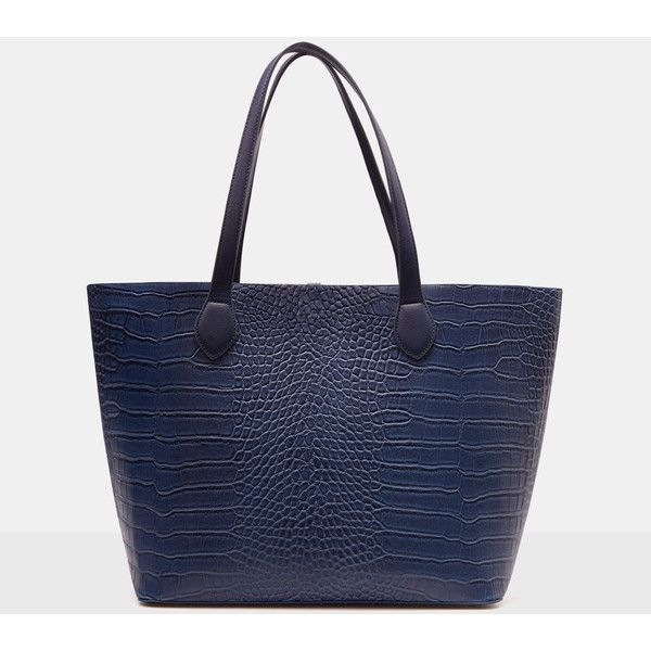 f07fabb6772d5 Violeta BY MANGO Croc-Effect Shopper Bag ( 56) ❤ liked on Polyvore  featuring bags, handbags, tote bags, plus size, crocodile handbag, blue  purse, ...