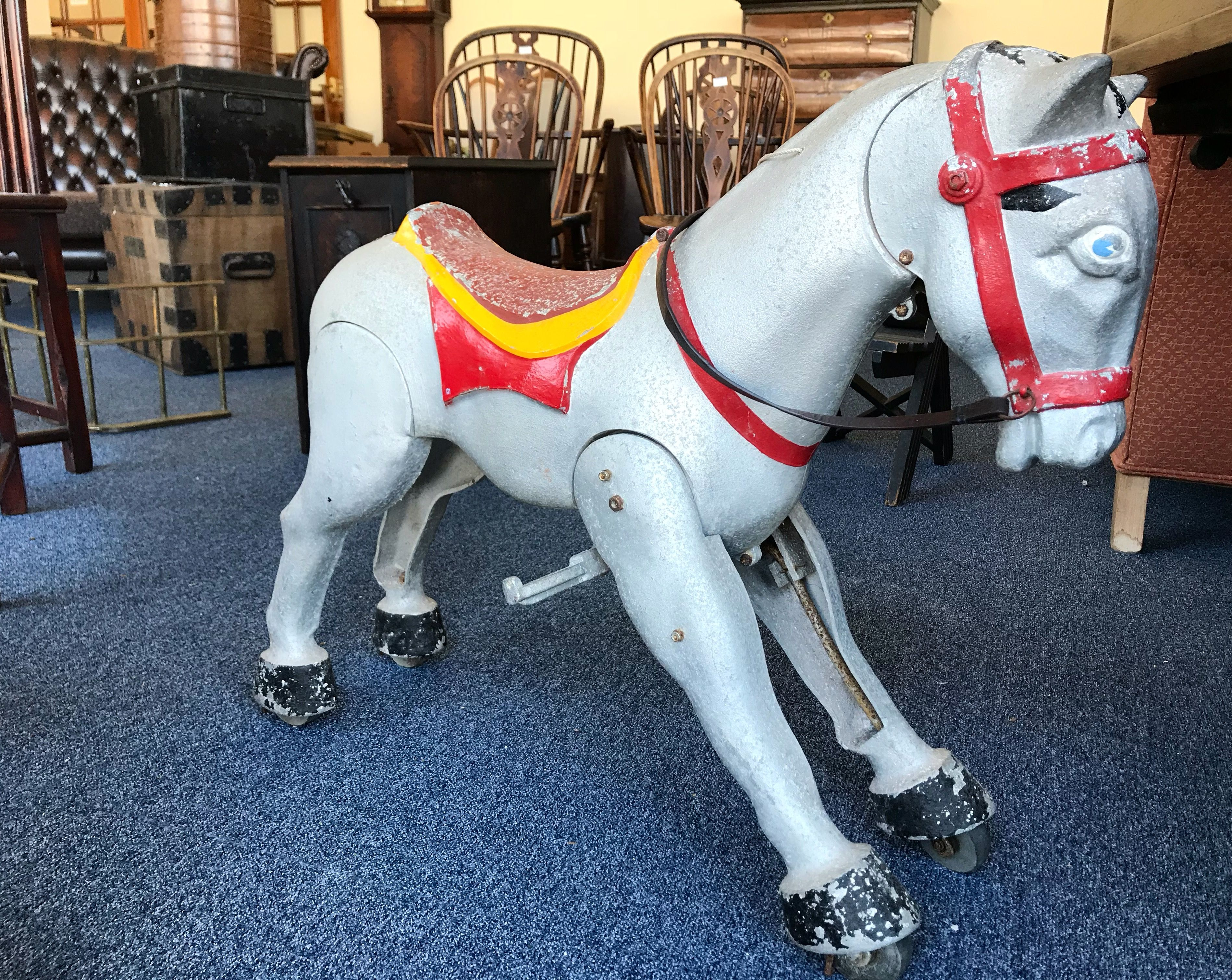 This antique 1950's Mastercraft horse is painted on cast