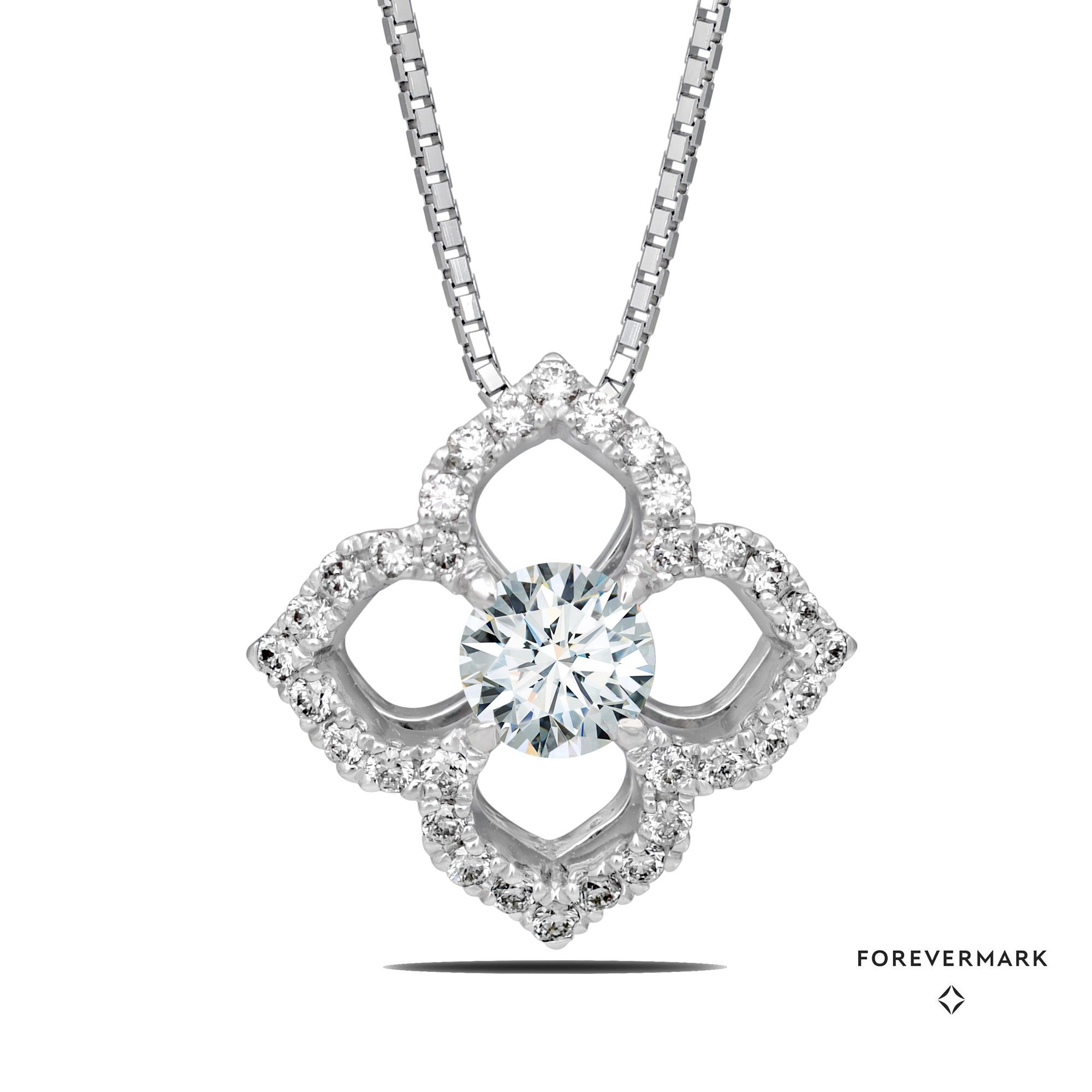 Stunning Forevermark Diamond Lotus Flower Necklace In 18kt White