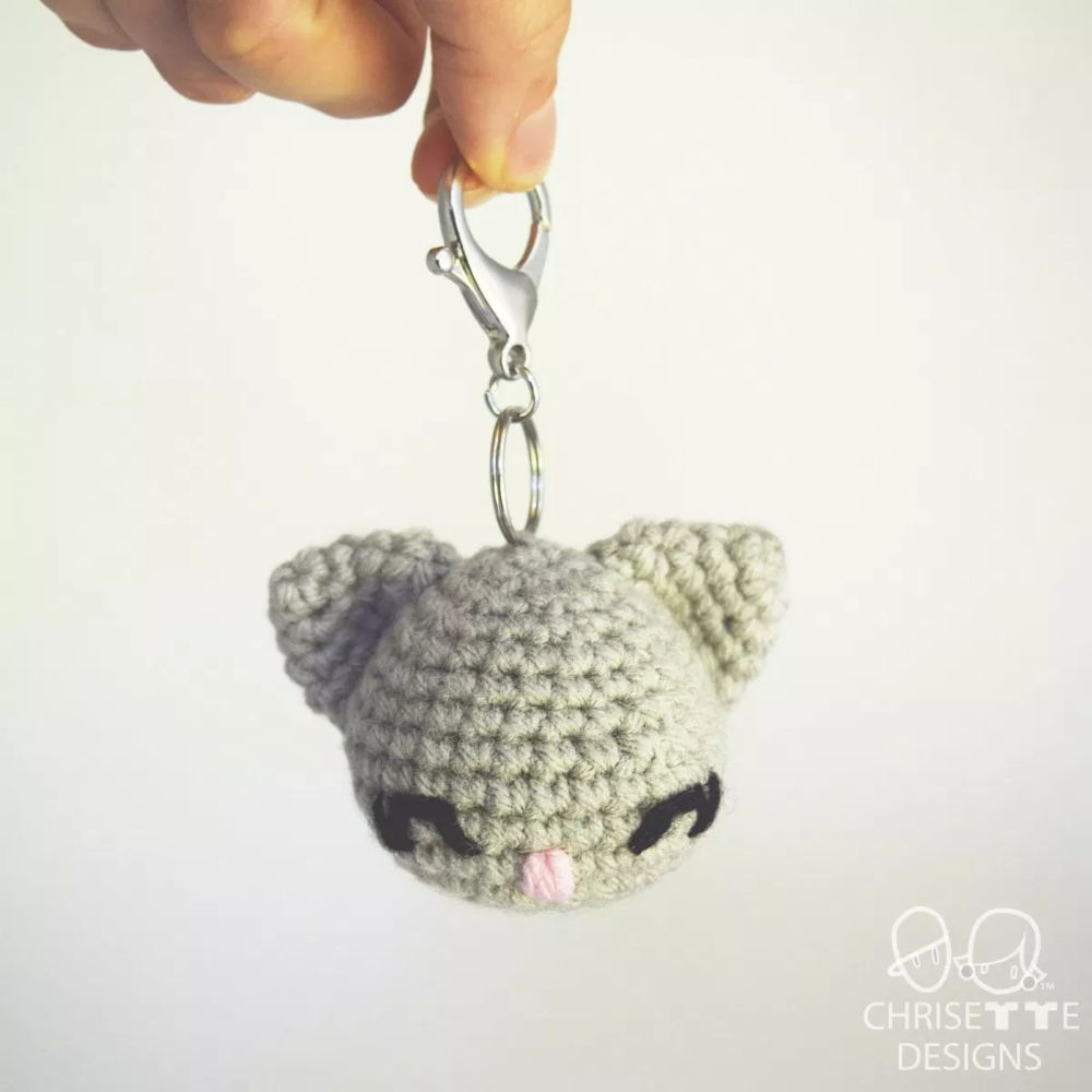 Kitty Cat keyring amigurumi figure mini crochet charm kitten made ... | 1000x1000
