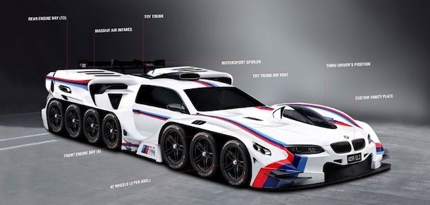 bmw renders a 42 wheel mega car proving it might be the coolest car - Coolest Cars In The World 2015